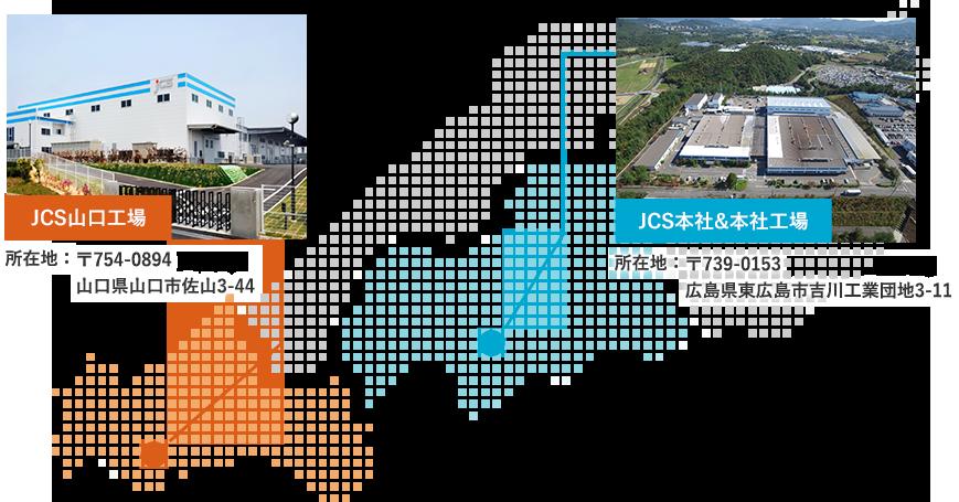 JCS山口工場、所在地山口県山口市3-44。JCS本社と本社工場、所在地広島県広島市吉川工業団地3-11